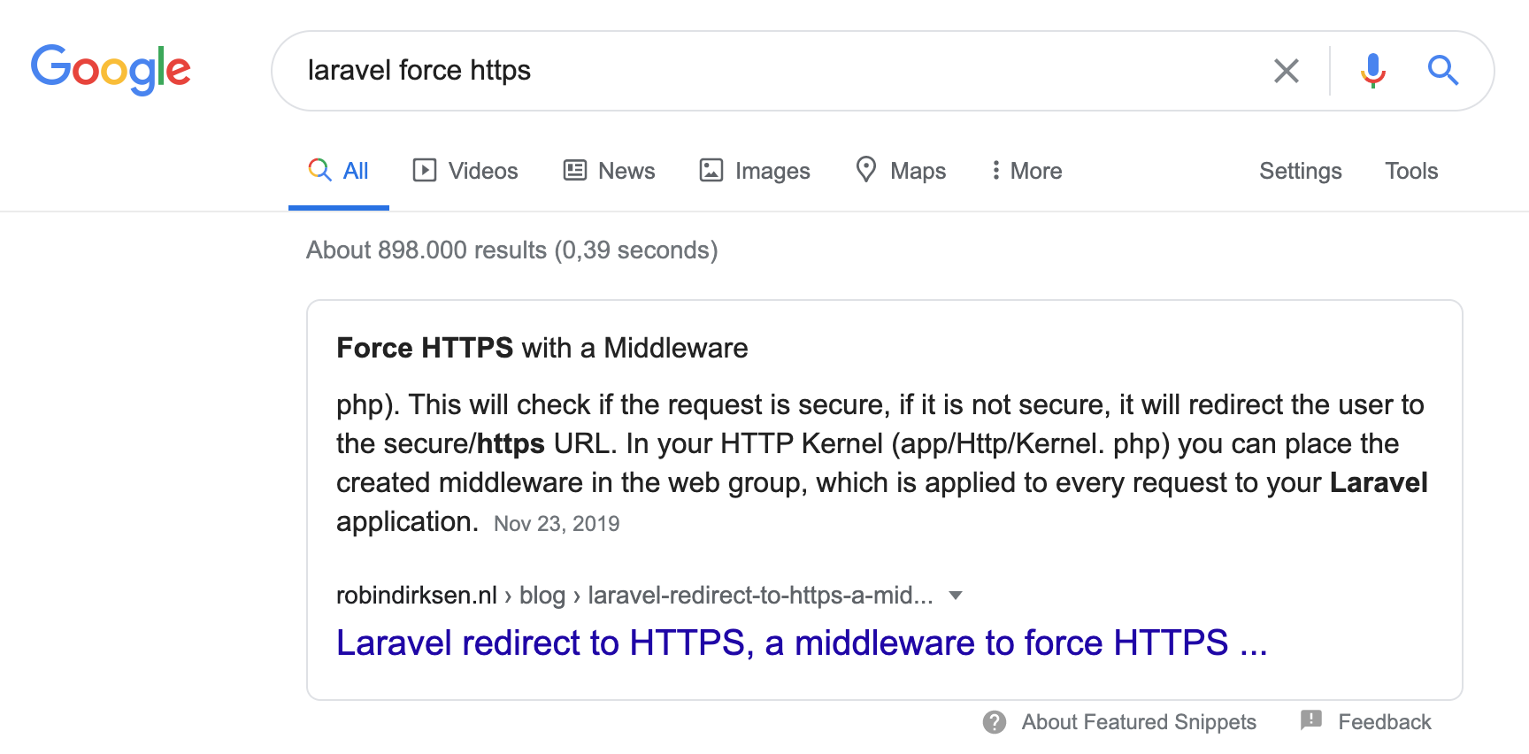 """Google Featured snippet for """"Laravel Force Https"""""""