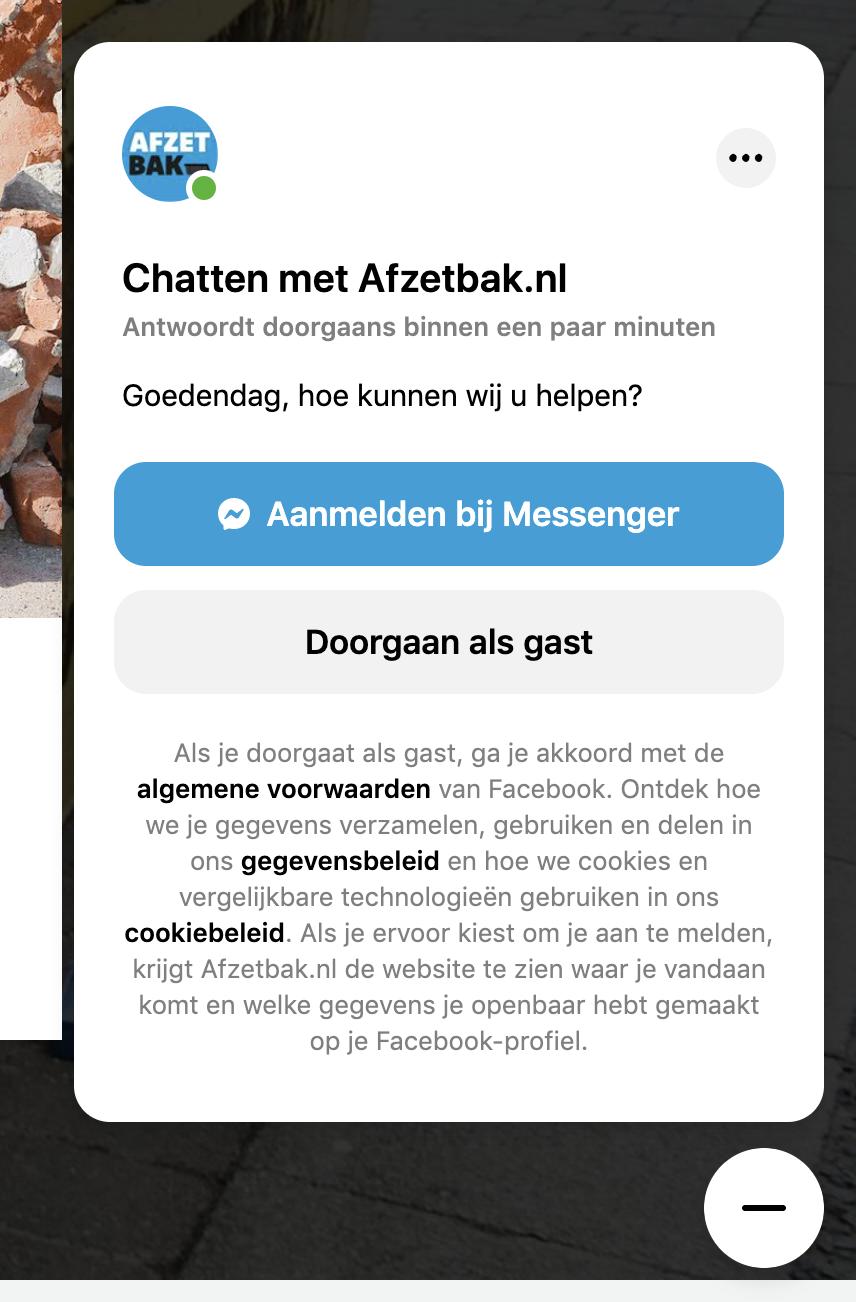 Facebook Messenger chat as guest