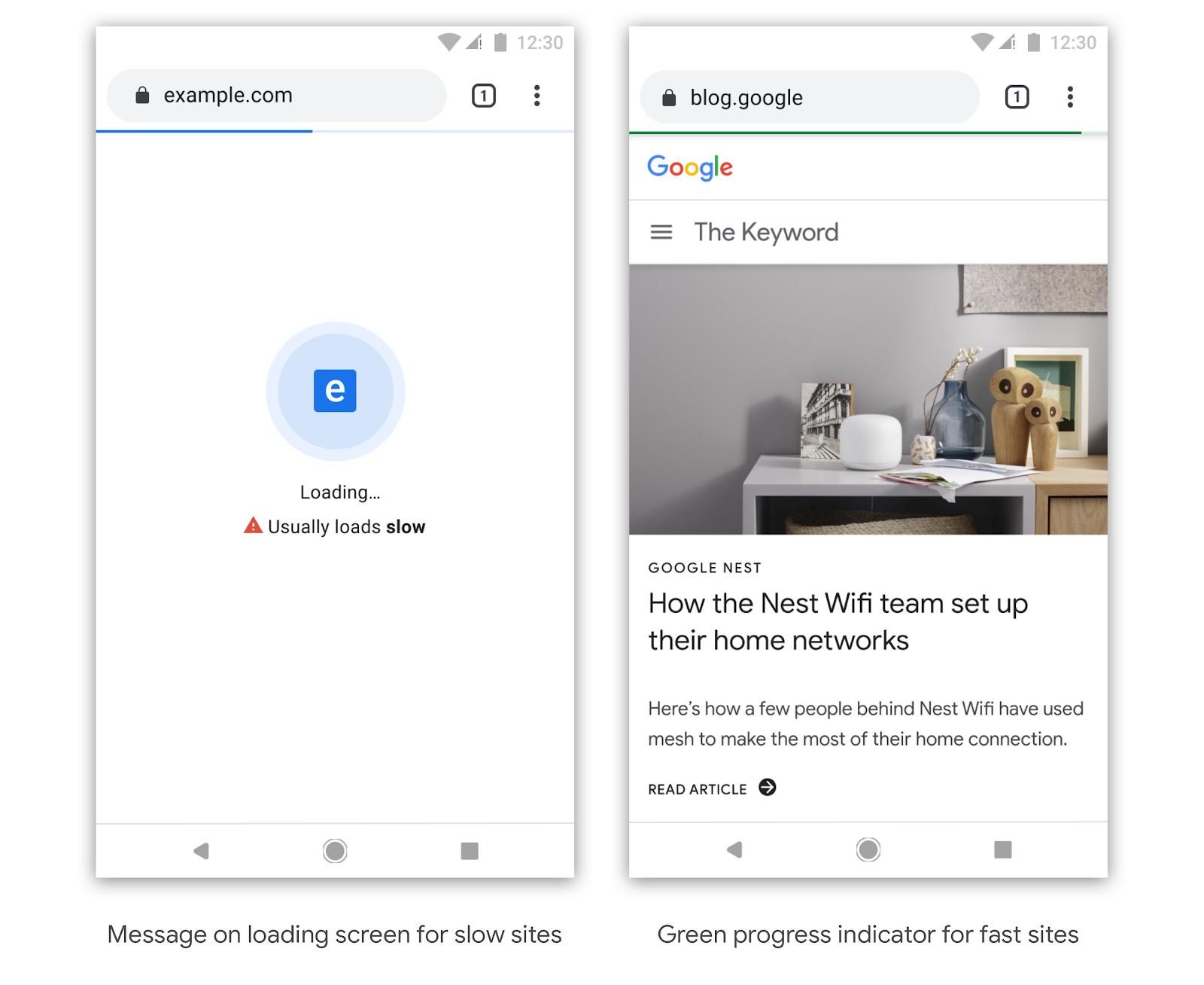 Google Chrome on mobile shows loading time (from blog.chromium.org)